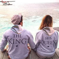 Top Quality COTTON love Couple women female Men Male anime streetwear Hoodie Sweatshirt KING QUEEN harajuku Hoody Jacket Coat