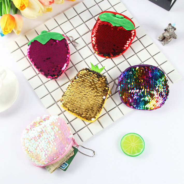 5colors Plush Purse - Colorful 10-12cm Novelty Fruit Plush Coin Purse , Coin Bag Wallet For Girls And Children Plush Purse