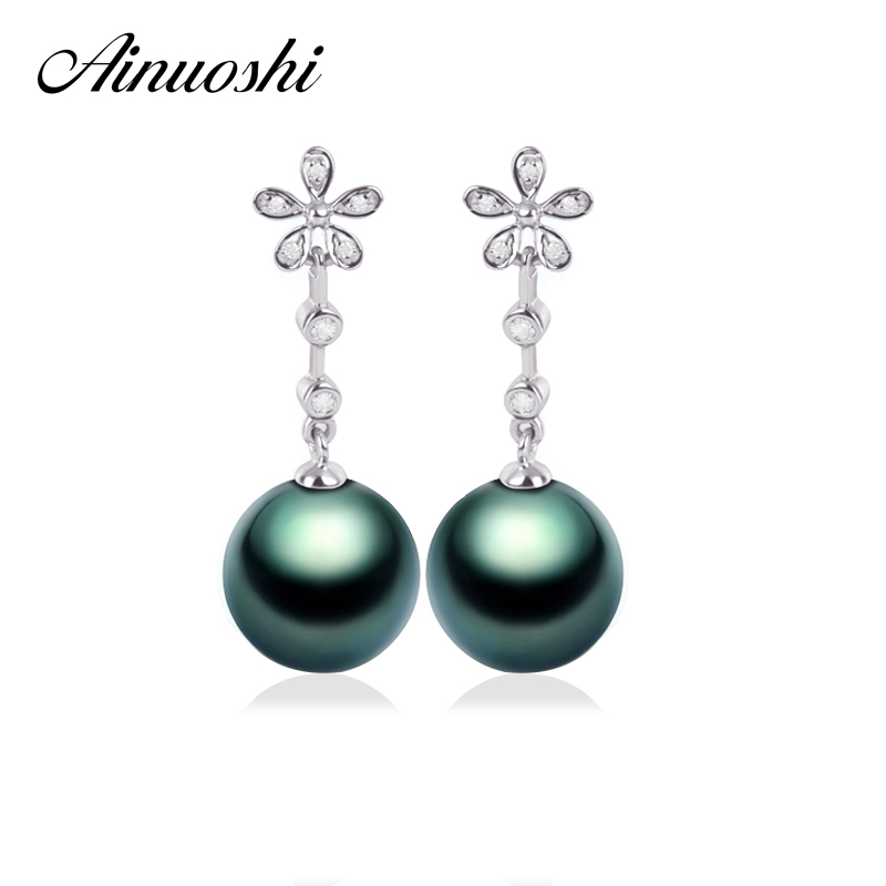 AINUOSHI Luxury 925 Sterling Silver Flower Earrings Natural Cultured Tahiti Black Pearl 9mm Round Pearl Lady Engagement Earrings ainuoshi 925 sterling silver leaves shaped pearl earrings 9 5 10mm natural tahitian black pearl round pearl lover stud earrings