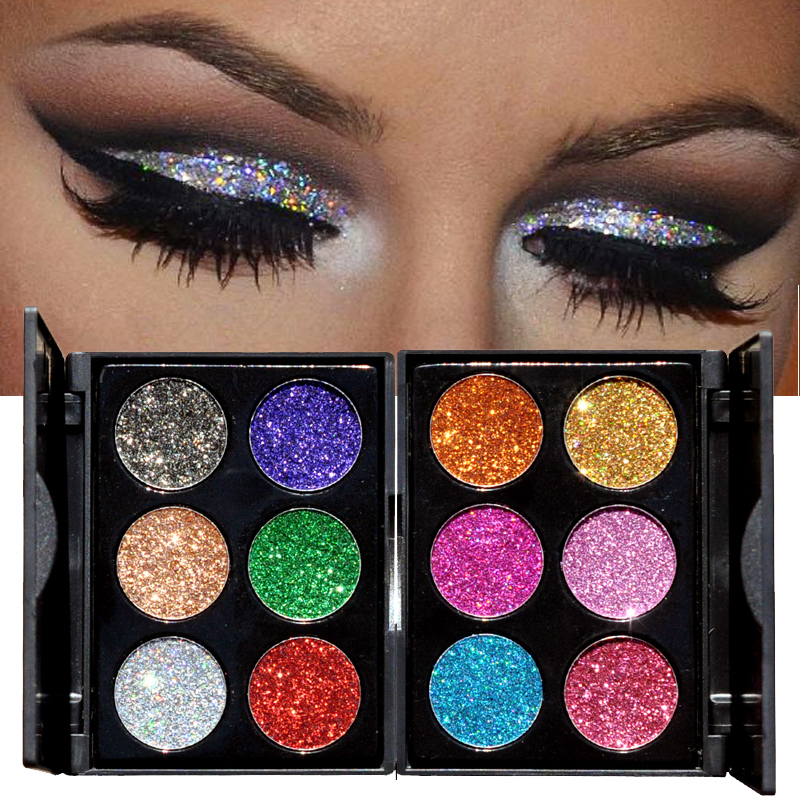 Beauty Essentials Handaiyan 6 Color Diamond Glitter Eyeshadow Palette Gold Shine Eyeshadow Glitter Shiny Eyeshadow Purple Blue Eye Shadows Beauty & Health