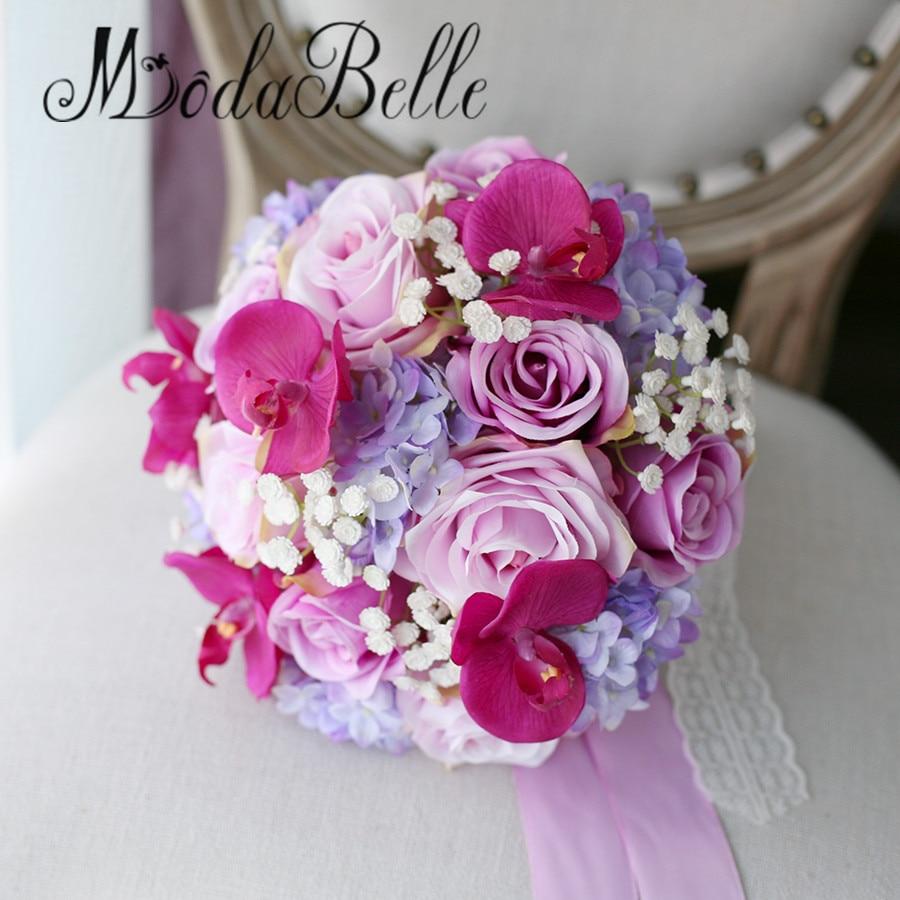 Modabelle White Baby Breath Rose Purple Bridal Wedding Bouquets