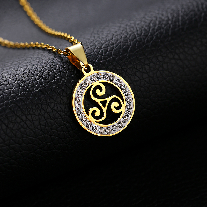 Trendy Teen Wolf Pendant Necklace Stainless Steel for women Round Gold/Steel color Triskele Triskelion Allison jewelry gift image