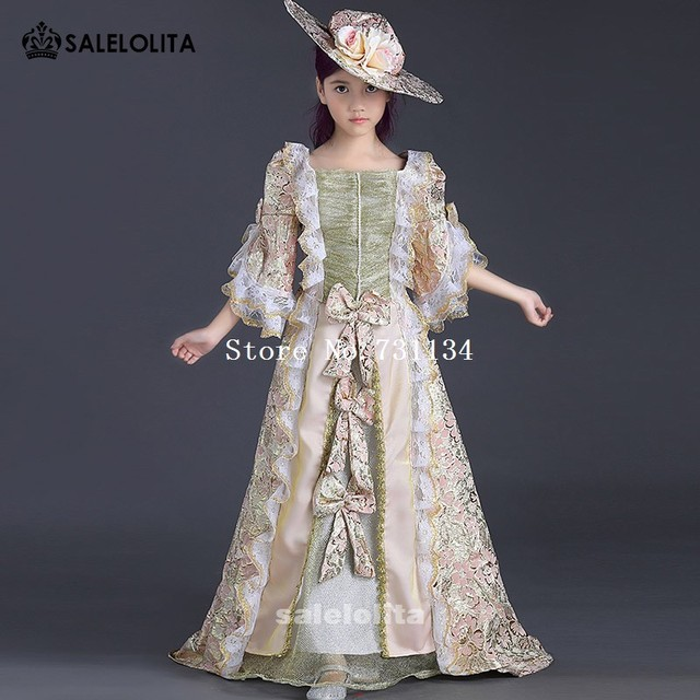 Medieval Wedding Dress Pattern Laced Corset Bridal Gown: 2017 Newest Children Pink Printed Lace Victorian Medieval