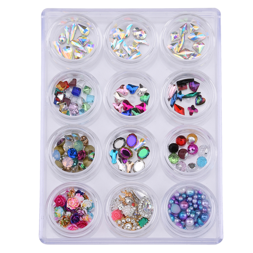 12pcs/set Mix Glass Nail rhinestones Charms alloy Nail Jewelry flowers set For Nails decoration Flat back & back pointed YST016 diy 10pcs pack 3d nail charms marquise purple rhinestones nail art decorations alloy jewelry nails tips tools free shipping