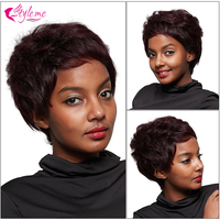 Style Me 1B/Burgundy Curly Human Hair Wigs For Black Women Full Machine Wigs Brazilian Hair Bob Short Wig With Baby Hair