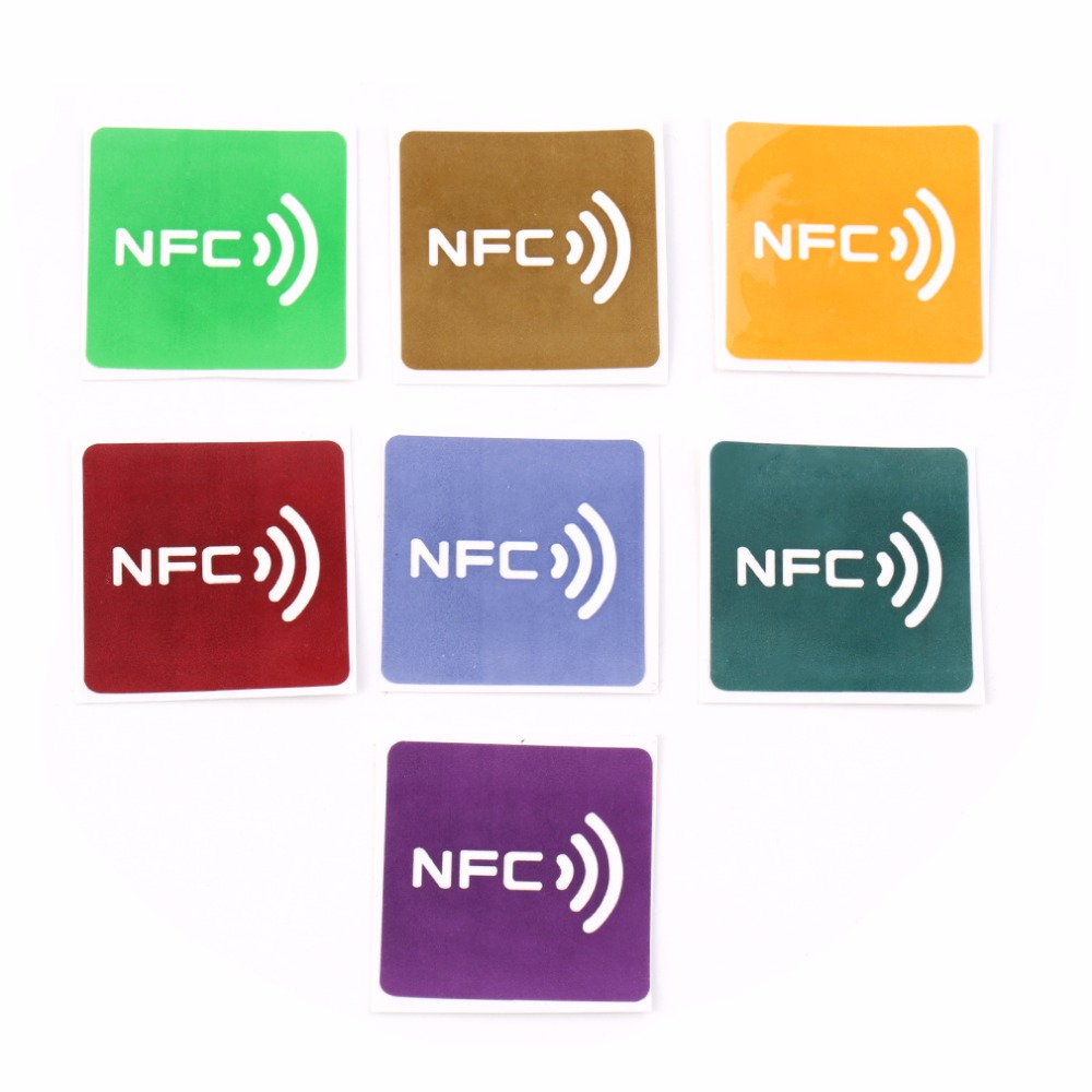 7pcs Universal NFC Tags Multicolor Square NFC Tag Stickers Lables For NFC-enabled Device Wholesale waterproof nfc tags lable ntag213 13 56mhz nfc 144bytes crystal drip gum card for all nfc enabled phone min 5pcs