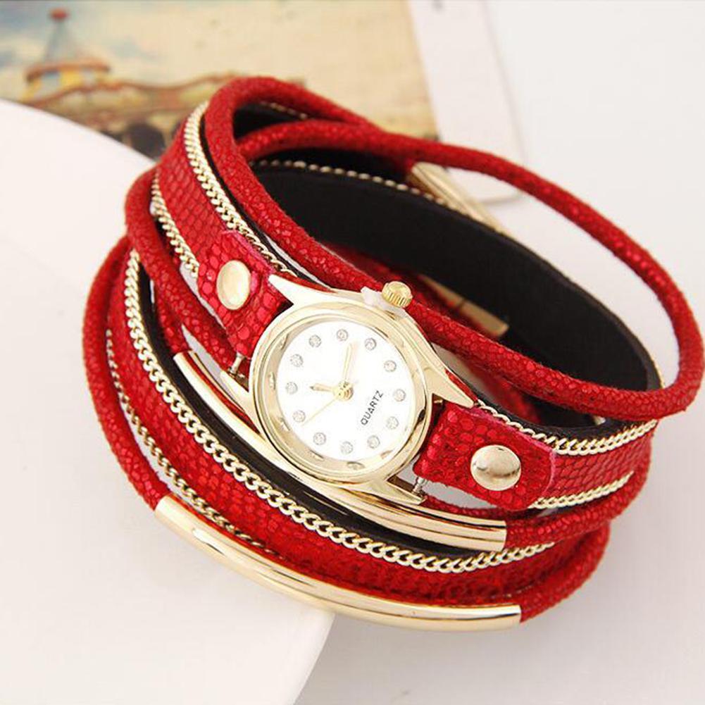 LinTimes Women's Watch Multi Layers Metallic Ornament Twining Hand Chain Leather Belt Quartz Watch 4