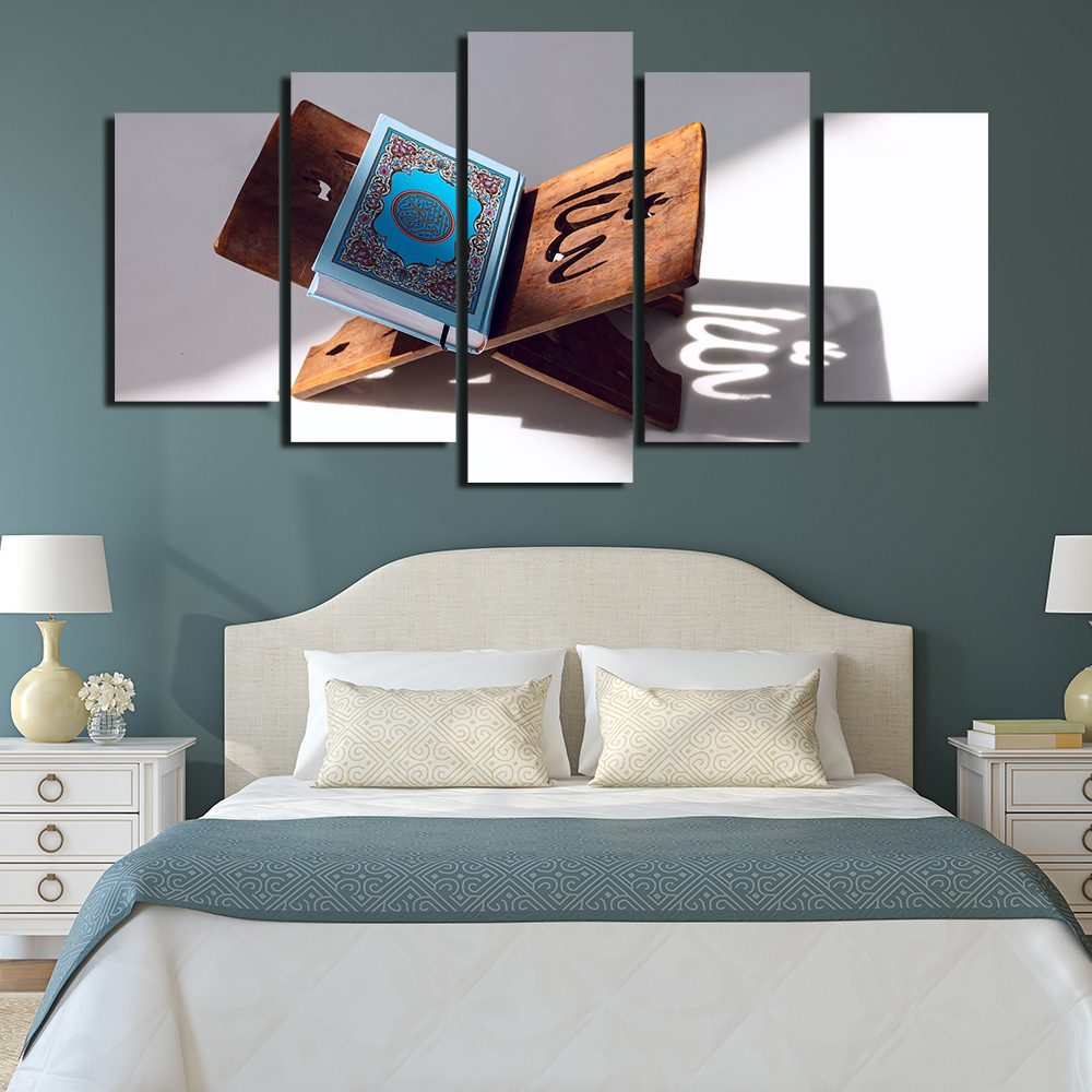 Canvas Painting Wall Art Abstract Decorative 5 Panel Muslim Pictures For Living Room Bedroom Islam Book