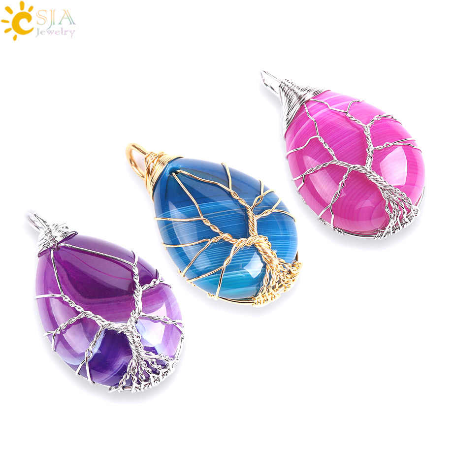 CSJA Gold Color Tree of Life Wire Wrap Water Drop Necklace & Pendant Reiki Natural Gem Stone Purple Blue Veins Onyx Jewelry E806