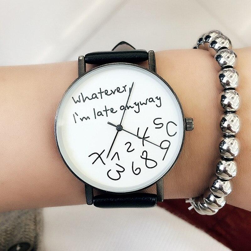 Neue 2018 Beliebte Frauen Beiläufige Uhr damen Leder Luxus Uhren Frau Sport Quarz-armbanduhr einfache weibliche Uhr Stunden schwarz