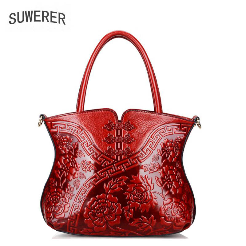 SUWERER 2018 new genuine leather women bags Embossed Flower luxury handbags women bags designer bag handbags women famous brands
