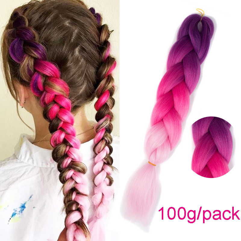 Imstyle Kanekalon Hair Crochet Braids Ombre Jumbo Braiding Synthetic Hair Extension For Women 24 inch Pink Blue Purple