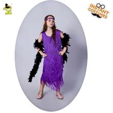QLQ 2018 New Girl Purple Flapper Costume Cosplay Carnival Party Fancy Dress  Flapper Dress Role Play 06ddcd0a9fda