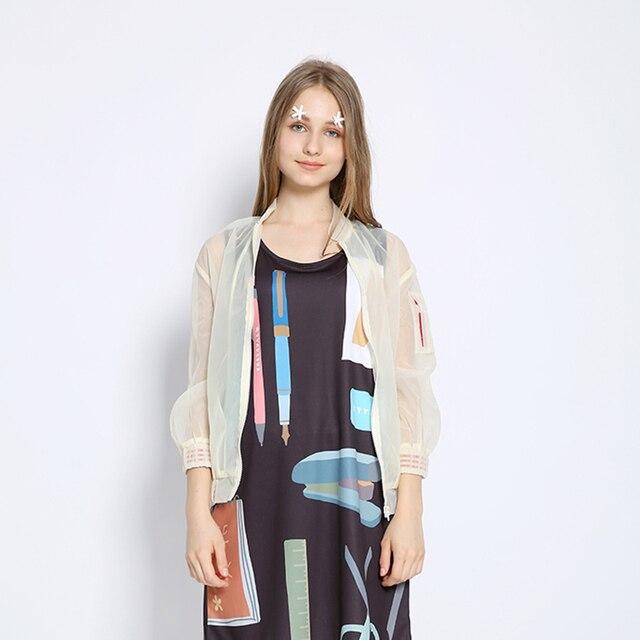 Harajuku Moda della Donna Trasparente Estate Giacca Sottile Cappotto Manica  Lunga Sveglio Scava Fuori Spell Colori fc7890fdb0a