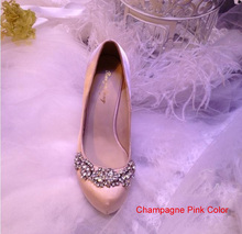 2016Spring And Autumn Round Toe Satin Rhinestone Platform Pumps Wedding Evening Party High Heels  Formal Shoes Brida Shoes Woman
