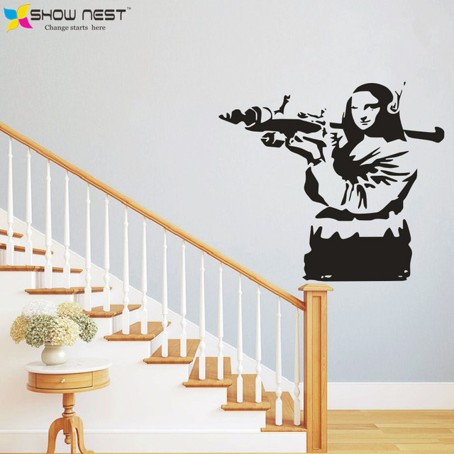 Banksy graffiti wall stickers classic vinyl street wall mural decor mona lisa wall stickers home