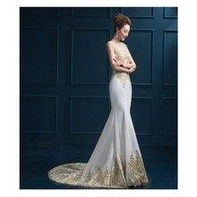 Neue Ankunft Glamorous Weiß Prom Kleid Mit Gold Appliques Lange Foraml Evening Kleid Benutzerdefinierte vestido de festa gala jurken