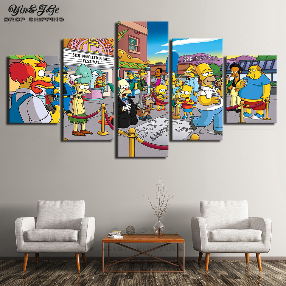 Living Room Wall Art Frameworks 5 Pieces Simpsons Modular Posters