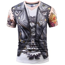 2017 Designer Stylish 3d T-shirt Men/Women Tops Print Fake Leather Jacket T shirt 3d Summer Casual Tees Shirts Plus S-XXXL R1877