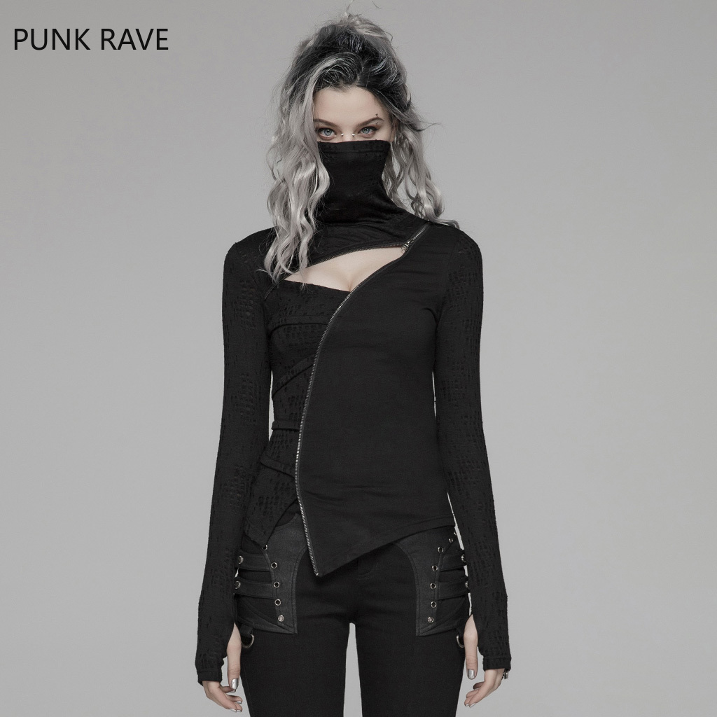 Punk Rave femmes Punk T-shirt col roulé foncé irrégulière fermeture éclair décoration Hollot Out Streetwear Hip Hop personnalité T-shirt