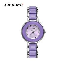 SINOBI Luxury Imitation Ceramic Bracelet Watches Women Brand Fashion Quartz Watch Relojes Mujer 2019 Ladies Wrist