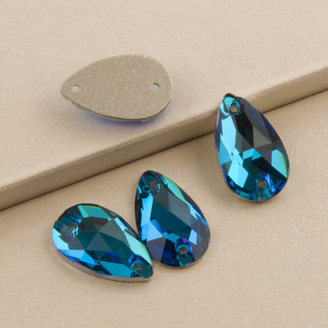 b92ce39643 US $8.08 11% OFF|Blue Zircon 3230 Drop Sew on Rhinestone Flat back Crystal  Rhinestones Sewing Crystals Glass Stone for Embroidery-in Rhinestones from  ...