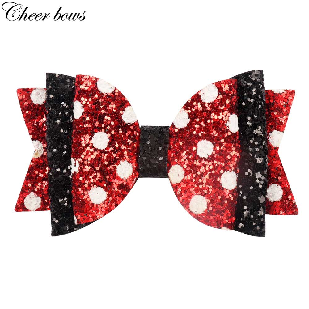 Hair Accessories 4 '' Chunky Dot Hair Bows Handmade Bling Glitter Hair Clips For Girls Fashion Three Layers Polka Hairpins