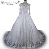 VARBOO_ELSA robes de mariage 2018 mới công chúa mới sang trọng dài tay áo wedding dress váy ren pha lê sequins vintage wedding dress