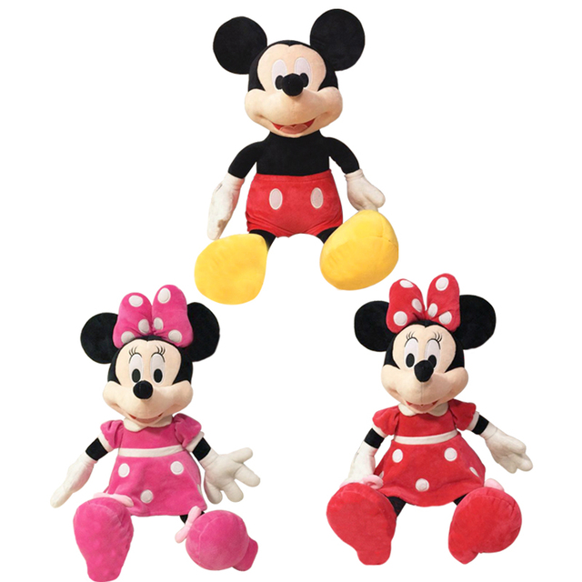 2pcs/lot 40cm Lovely Mickey Mouse and Minnie Mouse Plush Cartoon Figure Toys Stuffed Dolls Kids Girl Christmas Birthday Gift