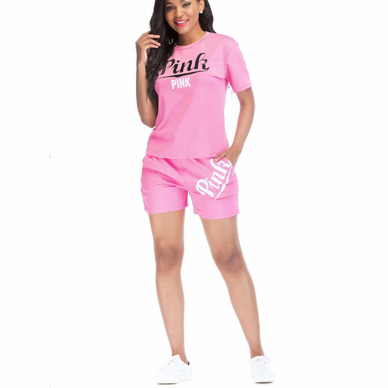 3d93fd6bb4 Women Pink Outfit Printing Short Sleeve T shirt Top And Shorts Two ...