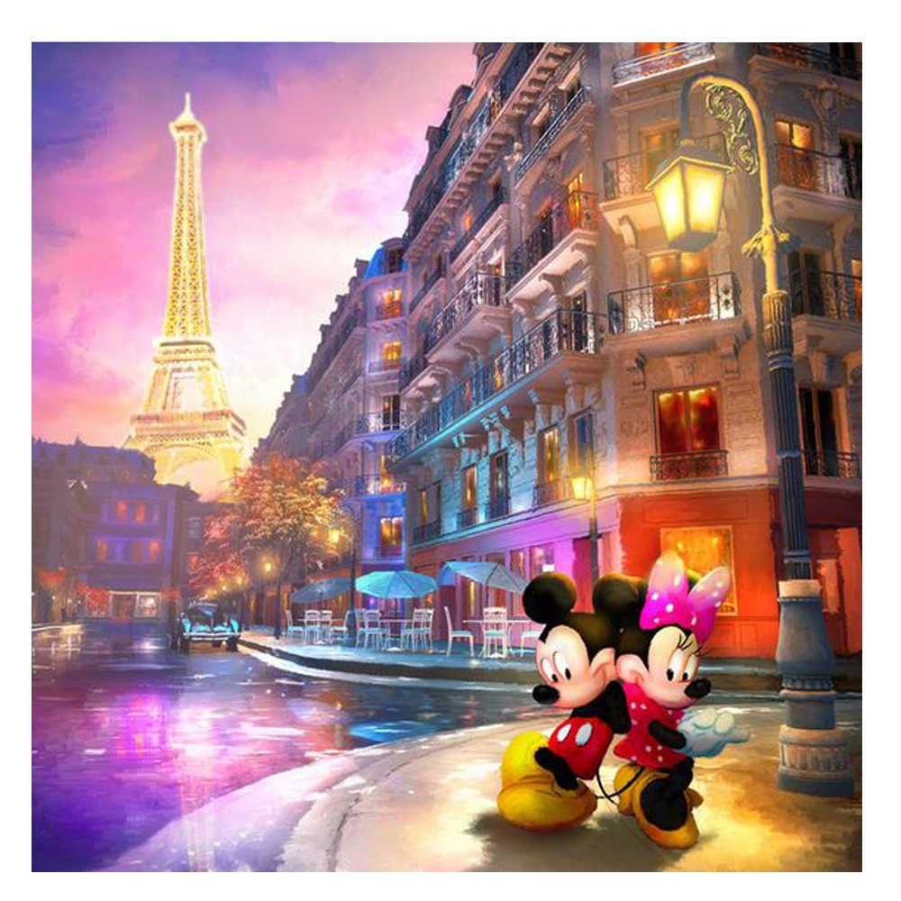 Париж башня с мышонком из мультфильма друг Путешествие diy Вышивка с кристаллами рукоделие Алмазная мозаика, алмазная Вышивка