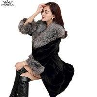 tnlnzhyn 2018 Winter Luxury Lady Mink Fur Coat Jacket Medium Long Super Large Fox Fur Hooded Women Fur Coat Warm Women Fur Y634