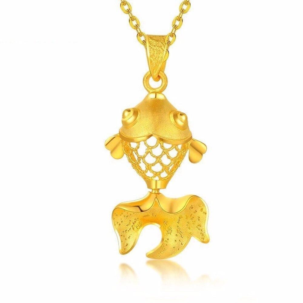 Чистый 999 24 К желтое золото кулон 3D Best подарок симпатичный кулон рыбы