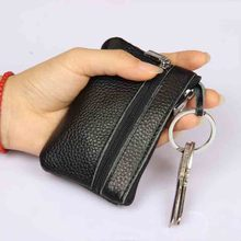 Real Leather Very Thin Women Men Key Chain Holder Soft Zipper Coin Purse Mini Card Holder Wallet Candy Colors High Quality cheap
