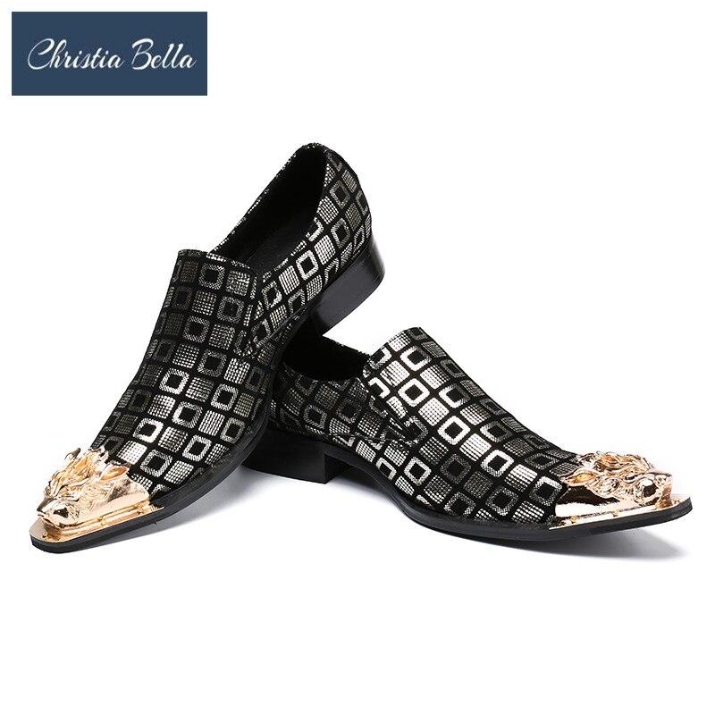 Здесь продается  Christia Bella Brand Fashion Men Party Wedding Handmade Loafers Men Print Leather Gold Dress Shoes Stage Outfit Dress Shoes  Обувь