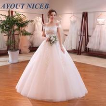 White Ball Gown Off the Shoulder Wedding Dress 2019 Cheap vestido de noiva Illusion Lace Appliques Robe de Mariee Casamento