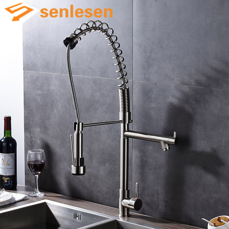 Newly Product Kitchen Mixer Faucet Brushed Nickel Spring Water Taps for Kitchen Single Handle Hole product differentiation