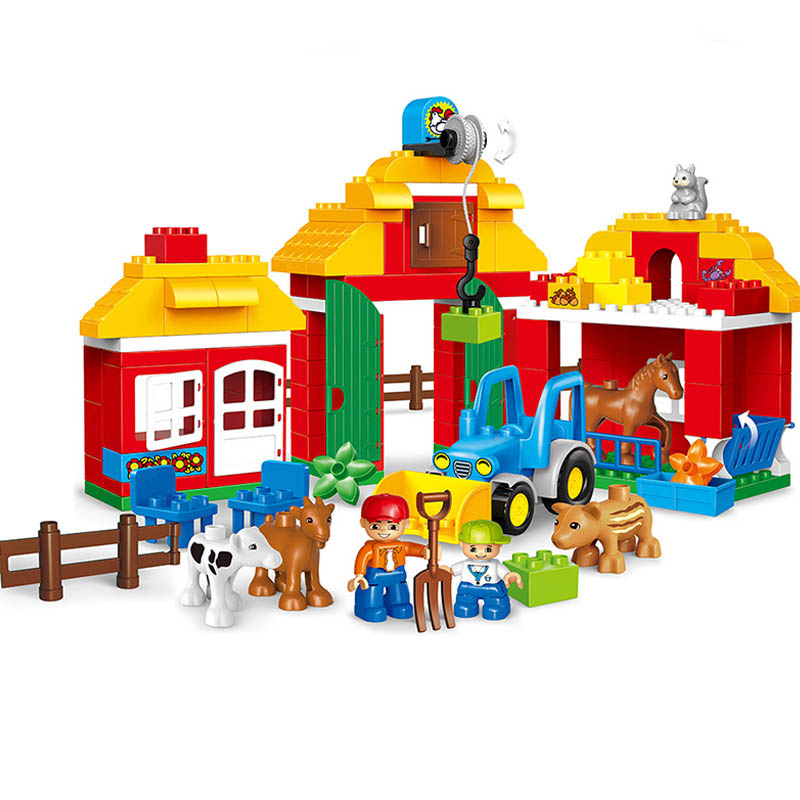 123Pcs Happy Farm Large Blocks Happy Zoo With Animals Building Blocks Set DIY Bricks Toys Gifts Compatible With Duploe Legoings mr froger american crocodile alligator wild animals toys set zoo modeling plastic solid cute gift reptiles toy gifts diy fun