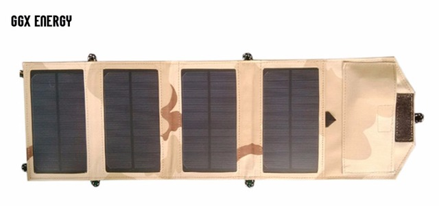 GGX ENERGY 7.2W Folding Solar Charger for Mobile Phone iPhone Samsung LG Smart Phones Portable Solar Panels for Camping