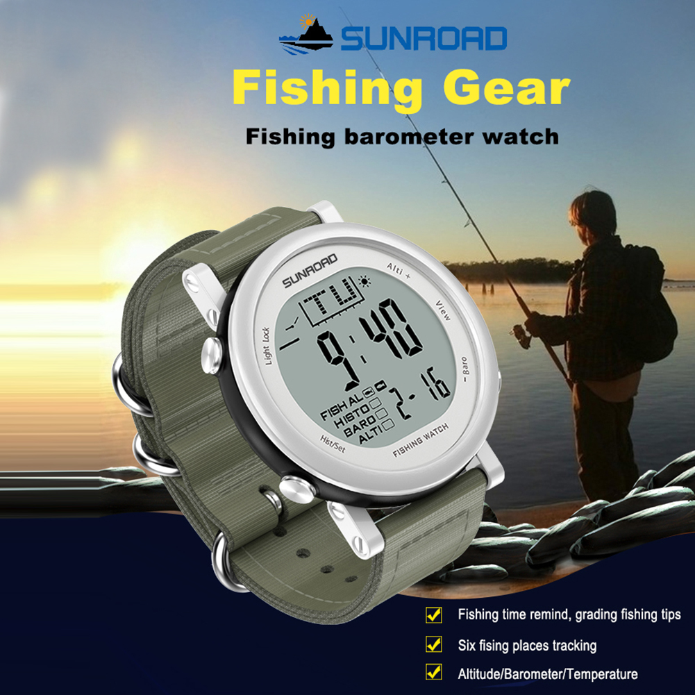 300hPa~1100hPa Digital Waterproof Fishing Watch Men's Outdoor Timer Fishing Gear Altimeter Barometer Thermometer Pedometer outdoor multifunction digital fishing barometer waterproof fishing watch barometer altimeter thermometer sports watch 6 colors