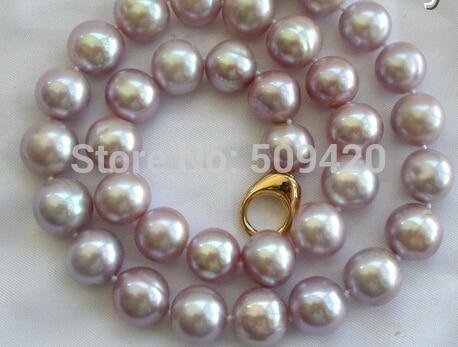 купить FREE SHIPPING> >>stunning wow big 13mm round lavender freshwater cultured pearl necklace недорого