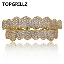 TOPGRILLZ Custom Fit Gold Silver Color Iced Out Hip Hop Teeth Grillz Micro Pave Cubic Zircon Top & Bottom Teeth Grills Set
