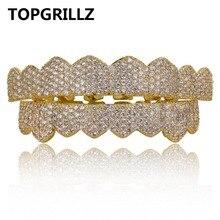 Topgrillz ajuste personalizado oro plata color iced out hip hop dientes grillz micro Pave cubic ZIRCON Top & bottom dientes parrillas conjunto