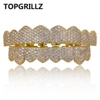 TOPGRILLZ Custom Fit Gold Silver Color Iced Out Hip Hop Teeth Grillz Micro Pave Cubic Zircon