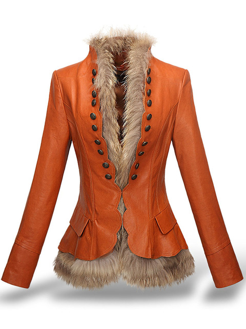 LXUNYI Winter Womens Leather Coat With Button Faux Fur jacket Fashion Short Slim Warm Faux leather jackets Women Orange Coffee 2