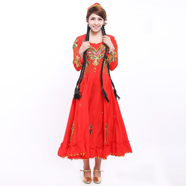 Women Xinjiang Dance Costumes Performance Costume National Uygur Dance Costumes Stage Clothes Dress