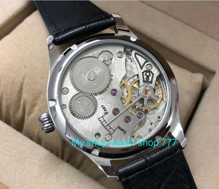 44 millimetri parnis quadrante bianco Asian 6498 17 gioielli Meccanico carica a mano vigilanza degli uomini del movimento numeri Romani orologi Meccanici pa49 8 - 5