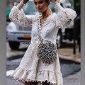 Marca de lujo 2019, vestido blanco de alta calidad para mujer, Vestido de manga larga con diseño de encaje bohemio, Vestidos con escote en V, minivestido para mujer