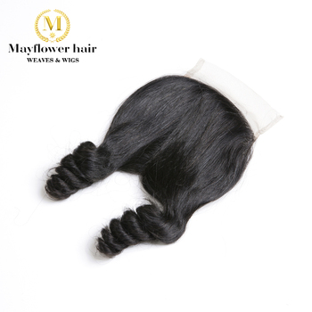 """Mayflower 4X4"""" Funmi Hair Lace Closure Duchess Curl  Natural Black Free Parting Or Middle Parting 8-16"""" Remy Hair Products"""