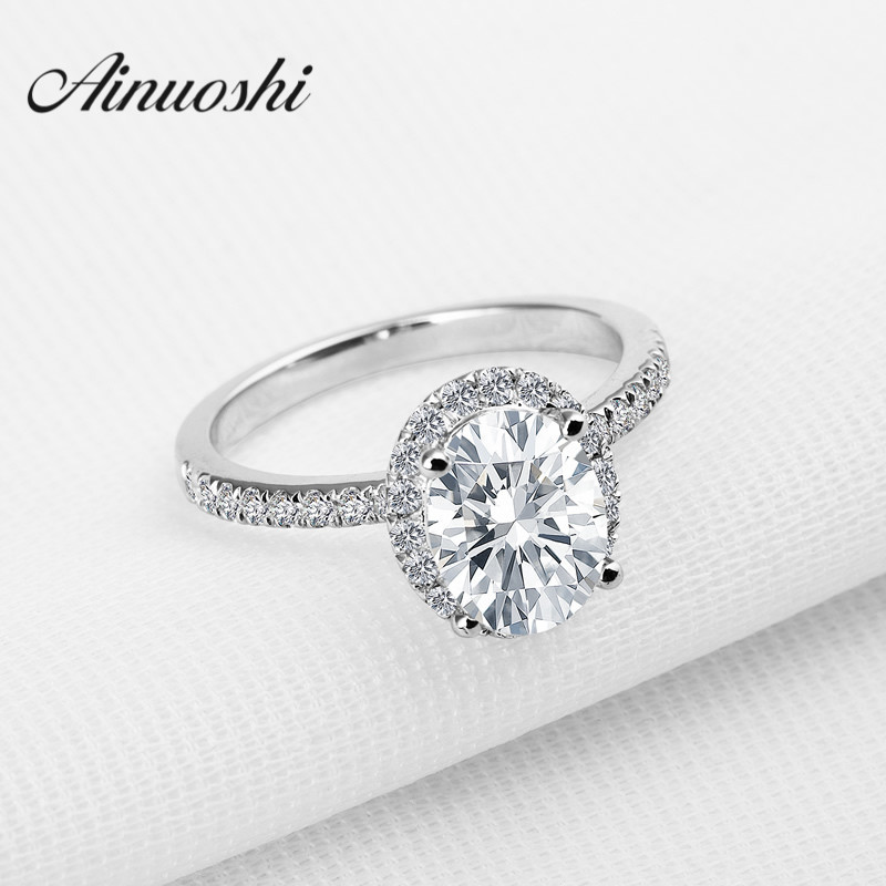 AINOUSHI Luxury 2ct Oval Cut Sona nscd Ring with Micro Paved Ring Women Princess Lovers Promise